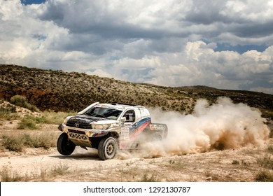 TERUEL, SPAIN - JUL 21 : Russian driver Vladimir Vasiliev and his codriver Konstantin Zhiltsov in a Toyota Hilux Overdrive race in the XXXV Baja Spain, on Jul 21, 2018 in Teruel, Spain.