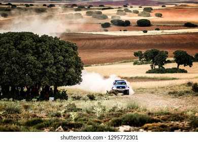 TERUEL, SPAIN - JUL 21 : Spanish driver Ruben Gracia and his codriver Sergio Peinado in a Ford Ranger race in the XXXV Baja Spain, on Jul 21, 2018 in Teruel, Spain.