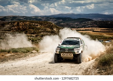 TERUEL, SPAIN - JUL 21 : Spanish driver Luis Recuenco and his codriver Victor Alijas in a Toyota Hilux race in the XXXV Baja Spain, on Jul 21, 2018 in Teruel, Spain.