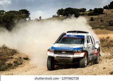 TERUEL, SPAIN - JUL 21 : Spanish driver Jose Manuel Pita and his codriver Juan Carlos Estevez in a Ford Ranger race in the XXXV Baja Spain, on Jul 21, 2018 in Teruel, Spain.
