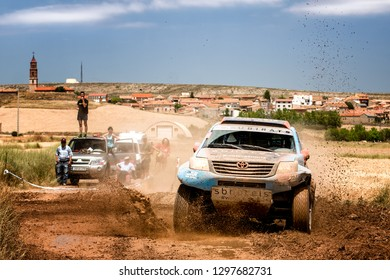 TERUEL, SPAIN - JUL 21 : Spanish driver Gerard Subirats and his codriver Daniel Camara in a Toyota Hilux race in the XXXV Baja Spain, on Jul 21, 2018 in Teruel, Spain.