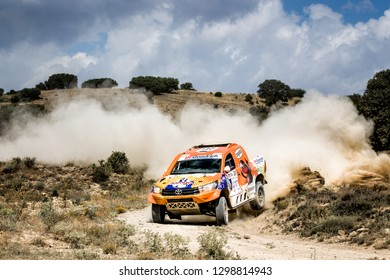 TERUEL, SPAIN - JUL 21 : Spanish driver Jesus Calleja and his codriver Jaume Aregall in a Toyota Hilux Proto race in the XXXV Baja Spain, on Jul 21, 2018 in Teruel, Spain.