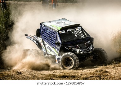 TERUEL, SPAIN - JUL 21 : Spanish driver Santiago Navarro and his codriver Pedro Lopez in a Yamaha YXZ 1000R race in the XXXV Baja Spain, on Jul 21, 2018 in Teruel, Spain.