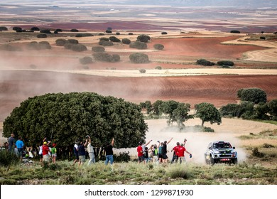 TERUEL, SPAIN - JUL 21 : Spanish driver Jose Antonio Bayort and his codriver David Nadal in a Toyota Rav4 race in the XXXV Baja Spain, on Jul 21, 2018 in Teruel, Spain.
