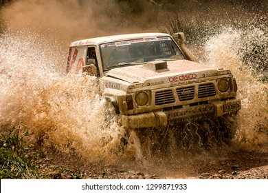 TERUEL, SPAIN - JUL 21 : Spanish driver Carles Jorda and his codriver Jordi Llop in a Nissan Patrol GR Y60 race in the XXXV Baja Spain, on Jul 21, 2018 in Teruel, Spain.