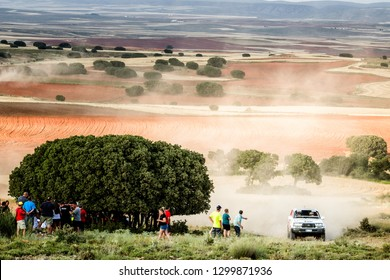 TERUEL, SPAIN - JUL 21 : Spanish driver Ismael Sanchez and his codriver Yony Luis Perez in a Toyota Land Cruiser HDJ80 race in the XXXV Baja Spain, on Jul 21, 2018 in Teruel, Spain.