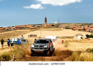 TERUEL, SPAIN - JUL 21 : Spanish driver Jose Antonio Hinojo and his codriver Jorge Saiz in an Hibor Raid DKR race in the XXXV Baja Spain, on Jul 21, 2018 in Teruel, Spain.