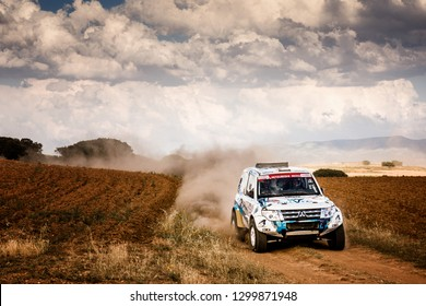 TERUEL, SPAIN - JUL 21 : Spanish driver Roberto Carranza and his codriver Juan Carlos Fernandez Usero in a Mitsubishi Montero DiD race in the XXXV Baja Spain, on Jul 21, 2018 in Teruel, Spain.