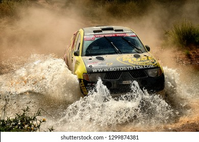 TERUEL, SPAIN - JUL 21 : Spanish driver Jose Augusto Gonzalez and his codriver  Pochola Hernandez in a Mitsubishi L200 race in the XXXV Baja Spain, on Jul 21, 2018 in Teruel, Spain.