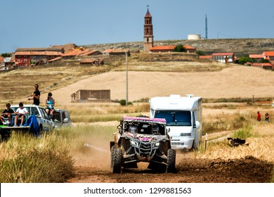 TERUEL, SPAIN - JUL 21 : Spanish driver Dani Sola and his codriver Miguel Angel Lazaro in a Can Am Maverick X3 race in the XXXV Baja Spain, on Jul 21, 2018 in Teruel, Spain.