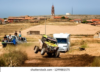 TERUEL, SPAIN - JUL 21 : Spanish driver Jordi Serra and his codriver Ivan Cano in a Yamaha YXZ 1000 R race in the XXXV Baja Spain, on Jul 21, 2018 in Teruel, Spain.