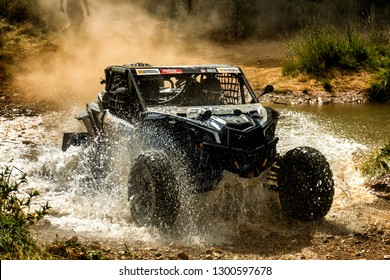 TERUEL, SPAIN - JUL 21 : Spanish driver Jordi Pons and his codriver Susana Guerrero in a Can Am Maverick X3 race in the XXXV Baja Spain, on Jul 21, 2018 in Teruel, Spain.
