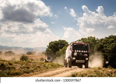 TERUEL, SPAIN - JUL 21 : Spanish driver Javier Jacoste and his codrivers David Marcuello a Juan Manuel Piera in a  Mercedes Benz 18.44 AK race in the XXXV Baja Spain, on Jul 21, 2018 in Teruel, Sp