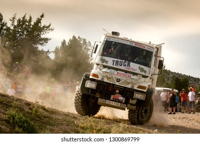 TERUEL, SPAIN - JUL 21 : Spanish driver Javier Herrero and his codrivers Alfonso Herrero and Rodrigo de la Calle in a Mercedes Unimog U500 race in the XXXV Baja Spain, on Jul 21, 2018 in Teruel, Spain