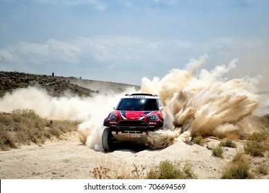 TERUEL, SPAIN - JUL 22 : Finnish driver Mikko Hirvonen and his codriver Andreas Schulz in a Mini All4 Racing race in the XXXIV Baja Spain, on Jul 22, 2017 in Teruel, Spain.