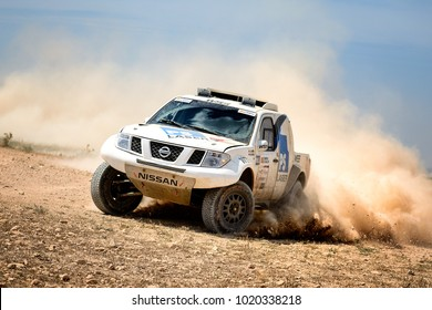 TERUEL, SPAIN - JUL 22 : German driver   Jurgen Schroeder and his codriver Maximilian Schroeder in a Nissan Navara race in the XXXIV Baja Spain, on Jul 22, 2017 in Teruel, Spain.