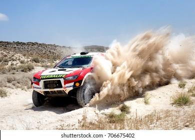 TERUEL, SPAIN - JUL 22 : Peruvian driver Nicolas Fuchs and his codriver Fernando Mussano in a HRX Ford race in the XXXIV Baja Spain, on Jul 22, 2017 in Teruel, Spain.
