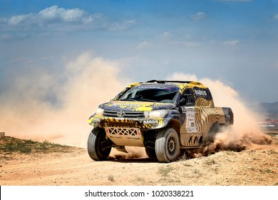 TERUEL, SPAIN - JUL 22 : Polish driver Aron Domzala and his codriver Maciej Marton in a Toyota Hilux Overdrive race in the XXXIV Baja Spain, on Jul 22, 2017 in Teruel, Spain.
