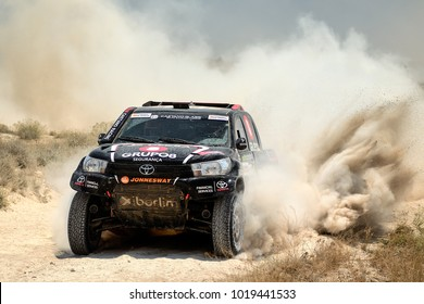 TERUEL, SPAIN - JUL 22 : Portuguese driver Joao Ramos and his codriver Vitor Jesus in a Toyota Hilux Overdrive race in the XXXIV Baja Spain, on Jul 22, 2017 in Teruel, Spain.