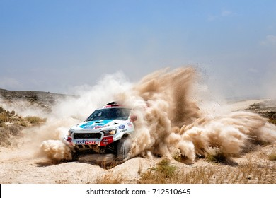TERUEL, SPAIN - JUL 22 : Portuguese driver Ricardo Porem and his codriver Hugo Magalhaes in a Ford Ranger race in the XXXIV Baja Spain, on Jul 22, 2017 in Teruel, Spain.