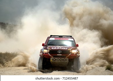 TERUEL, SPAIN - JUL 22 : Qatari driver Nasser Al Attiyah and his codriver Mathieu Baumel in a Toyota Hilux Overdrive race in the XXXIV Baja Spain, on Jul 22, 2017 in Teruel, Spain.
