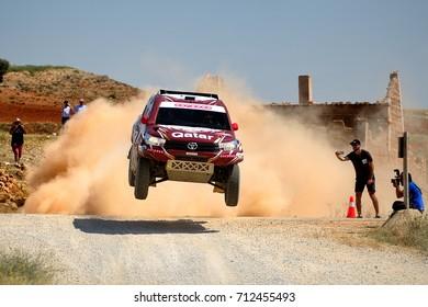 TERUEL, SPAIN - JUL 22 : Qatari driver Nasser Al Attiyah and his codriver Mathieu Baumel in a Toyota Hilux Overdrive race in the XXXIV Baja Spain, on Jul 22, 2017 in Teruel, Spain.