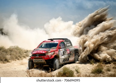 TERUEL, SPAIN - JUL 22 : South African driver Leeroy Poulter and his codriver Dirk Von Zitzewitz in a Toyota Hilux race in the XXXIV Baja Spain, on Jul 22, 2017 in Teruel, Spain.