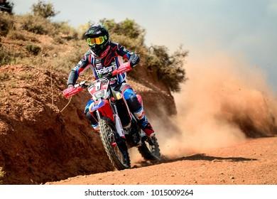 TERUEL, SPAIN - JUL 22 : Spanish rider Joan Barreda Bort in a Honda CRF 450 races in the XXXIV Baja Spain, on Jul 22, 2017 in Teruel, Spain.