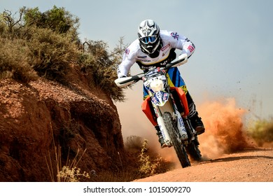 TERUEL, SPAIN - JUL 22 : Spanish rider Txomin Arana in a Husqvarna races in the XXXIV Baja Spain, on Jul 22, 2017 in Teruel, Spain.