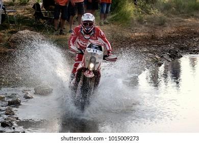 TERUEL, SPAIN - JUL 22 : Spanish Dani Oliveras rider in a KTM EXC 450 races in the XXXIV Baja Spain, on Jul 22, 2017 in Teruel, Spain.