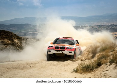 TERUEL, SPAIN - JUL 22 : Spanish driver Isidre Esteve and his codriverJose Maria Villalobos in a Sodicars BV6 X6 race in the XXXIV Baja Spain, on Jul 22, 2017 in Teruel, Spain.