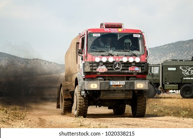 TERUEL, SPAIN - JUL 22 : Spanish driver Alejandro Aguirregaviria and his codrivers Daniel Planes and Queralt Gost in a Mercedes Benz 18.44 AK race in the XXXIV Baja Spain, on Jul 22, 2017 in Teruel