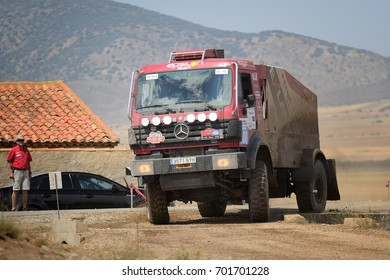 TERUEL, SPAIN - JUL 22 : Spanish driver Alejandro Aguirregaviria and his codrivers Daniel Planes and Queralt Gost in a Mercedes 18.44 AK race in the XXXIV Baja Spain, on Jul 22, 2017 in Teruel, Spain.