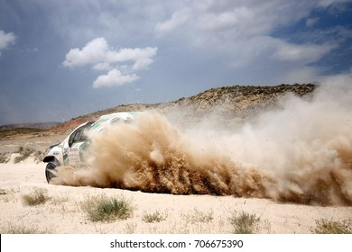 TERUEL, SPAIN - JUL 22 : Spanish driver Luis Recuenco and his codriver Manuel Navarro in a Toyota Hilux Overdrive race in the XXXIV Baja Spain, on Jul 22, 2017 in Teruel, Spain.