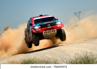 TERUEL, SPAIN - JUL 22 : Spanish driver Nani Roma and his codriver Alex Haro in a Toyota Hilux race in the XXXIV Baja Spain, on Jul 22, 2017 in Teruel, Spain.