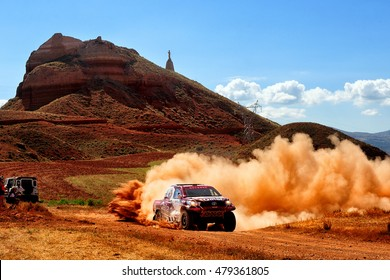 TERUEL, SPAIN - JUL 23 : Qatari driver Nasser Al Attiyah and his codriver Mathieu Baumel in a Toyota Hilux Overdrive race in the XXXIII Baja Spain, on Jul 23, 2016 in Teruel, Spain.
