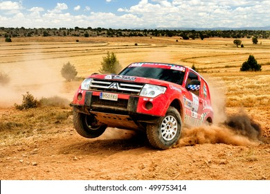TERUEL, SPAIN - JUL 23 : Spanish driver Josep Sole and his codriver Laura Diaz in a Mitsubishi Montero race in the XXXIII Baja Spain, on Jul 23, 2016 in Teruel, Spain.