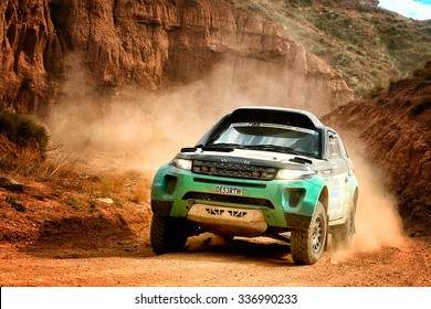 TERUEL, SPAIN - JUL 25 : British driver Peter Rowbottom and his codriver Benjamin Rowbottom in a Desert Warrior 3 race in the XXXII Baja Spain, on Jul 25, 2015 in Teruel, Spain.