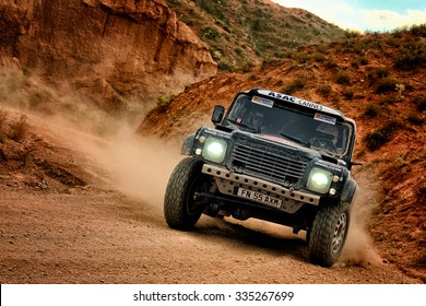 TERUEL, SPAIN - JUL 25 : French driver Jack Brun and his codriver Pascal Larroque in a Bowler Wildcat race in the XXXII Baja Spain, on Jul 25, 2015 in Teruel, Spain.