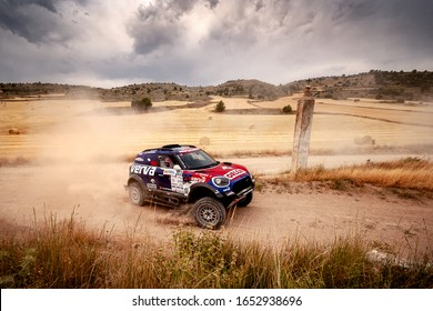 TERUEL, SPAIN - JUL 27 : Polish driver Jakub Przygonski and his codriver Timo Gottschalk in a Mini John Cooper Works Rally race in the XXXVI Baja Spain, on Jul 27, 2019 in Teruel, Spain.