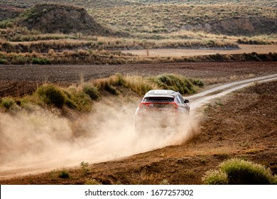 TERUEL, SPAIN - JUL 27 : Spanish driver Cristina Gutierrez and his codriver Pablo Moreno in a Mitsubishi Eclipse BV6 Sodicars race in the XXXVI Baja Spain, on Jul 27, 2019 in Teruel, Spain.