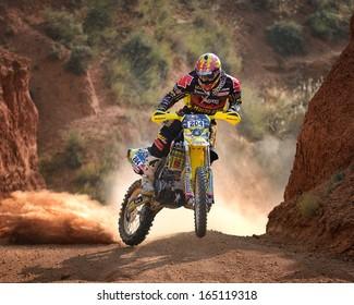 TERUEL, SPAIN - JUL 7 : Spanish rider Jose Manuel Pellicer in a Suzuki RMZ 450 races in the XXX Baja Spain, on Jul 7, 2013 in Teruel, Spain.