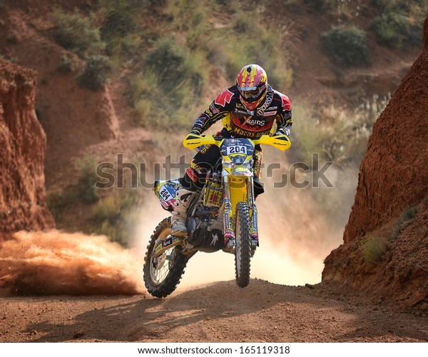 TERUEL, SPAIN - JUL 7 : Spanish rider Jose Manuel Pellicer in a Suzuki RMZ 450 races in the XXX Baja Spain, on Jul 7, 2013 in Teruel, Spain.