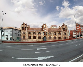 TERUEL, SPAIN - JULY 21, 2018: The provincial historical archive of Teruel house, Aragon, Spain. Fish eye lens effect.  July 21, 2018
