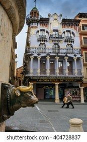 Teruel, Spain - March 10, 2008: Teruel is a town in Aragon, located in eastern Spain, important for the Mudejar Architecture, Plaza del Torico