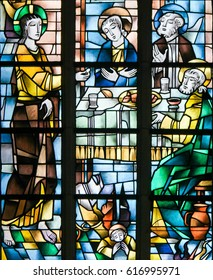TERVUREN, BELGIUM - MARCH 13, 2017: Stained Glass in the Church of Tervuren, Belgium, depicting Jesus at the Last Supper on Maundy Thursday