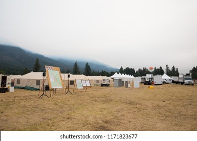 Terwilliger Fire Camp, OR, USA - August 30, 2018: Fire camp operations base area with maps and yurts as offices in the Willamette National Forest during the Terwilliger Fire.