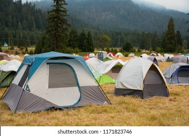Terwilliger Fire Camp, OR, USA - August 30, 2018: Tents house firefighters at the Terwilliger Fire base camp in the Willamette National Forest of Oregon.