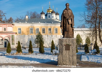 TERYAYEVO, VOLOKOLAMSKY DISTRICT, RUSSIA - NOVEMBER 28, 2016:A monument to the founder of Joseph of Volokolamsk Monastery of  St. Joseph of Volokolamsk. Installed in the summer of 2009