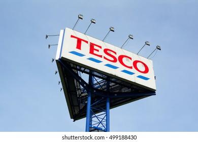 TESCO MARKET, HAVIROV, CZECH REPUBLIC / CZECHIA - OCTOBER 14, 2016: High and big billboard inviting buyer to come into supermarket / hypermarket